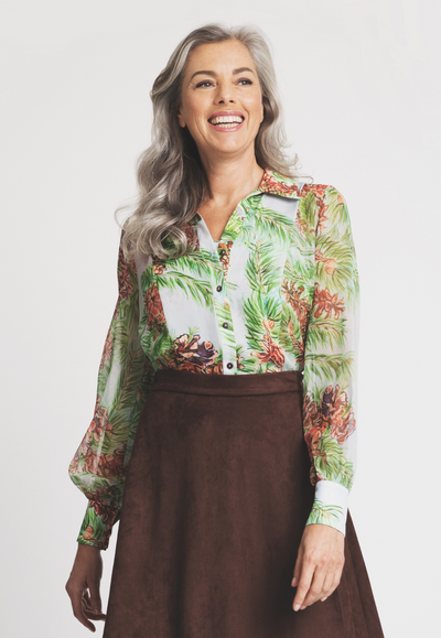 silk tailor shirt blouse in pinecone and tree print