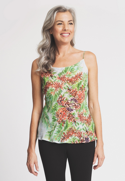 pinecone tree printed silk camisole