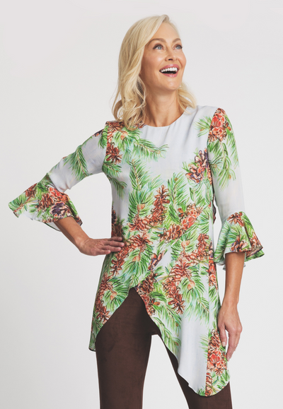 silk pinecone tree printed asymmetrical blouse  with three quarter sleeve and ruffle sleeve