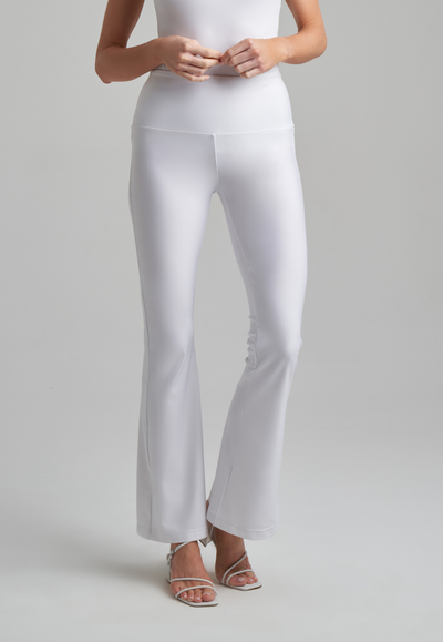 Stretch knit pants in white