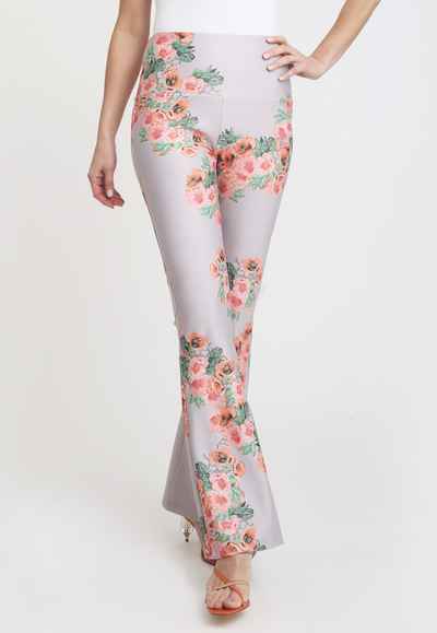 pink and orange flower printed stretch knit pants