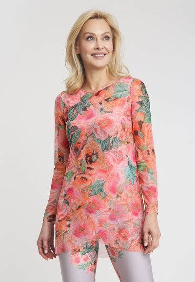 pink and orange flower printed mesh tunic top