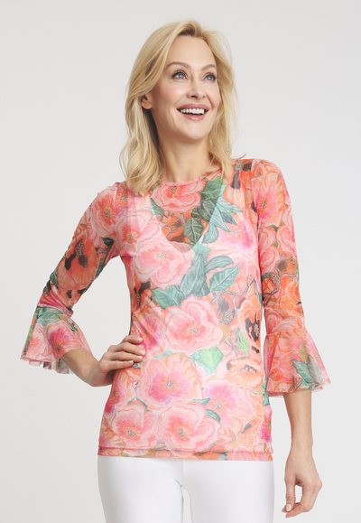 pink and orange floral printed mesh shirt with ruffled sleeves