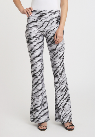 black and white tiger printed stretch knit pants