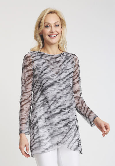 black and white tiger stripe printed mesh tunic long sleeve top