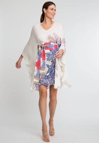 blue coral white printed short silk kaftan with belt