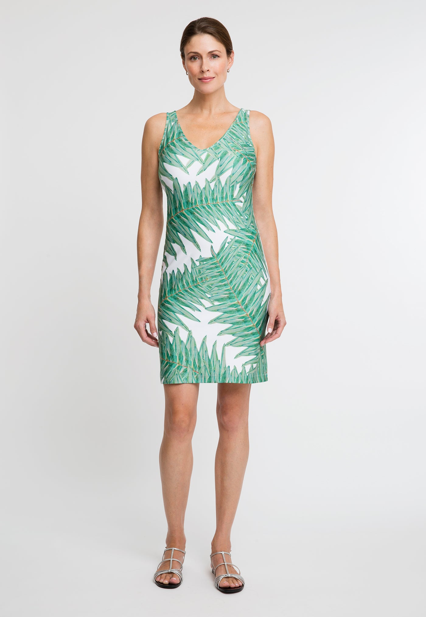 Lavinia Short Dress in Queen Palm front view