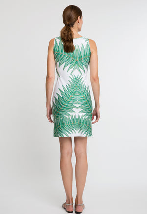 Lavinia Short Dress in Queen Palm back view
