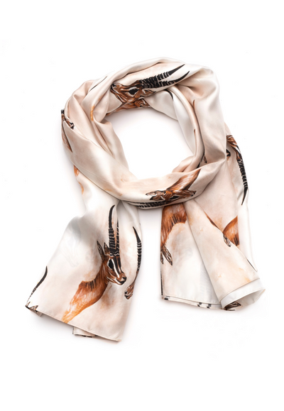 silk brown animal printed travel scarf wrap