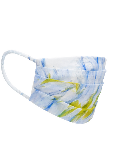 yellow and blue feather printed cotton face mask