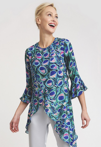 Silk peacock printed asymmetrical blouse with three quarter ruffled sleeves