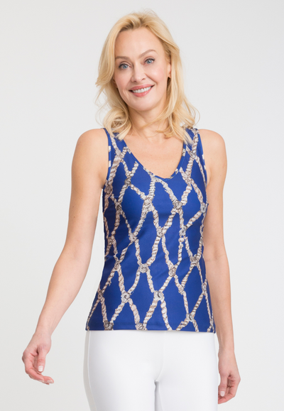 blue rope printed stretch knit tank top