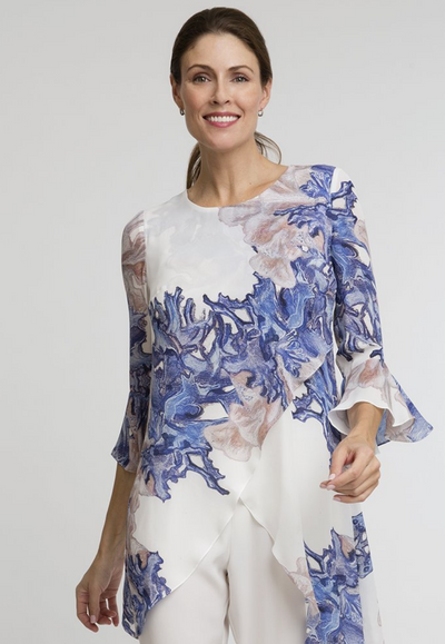 blue coral white silk asymmetrical blouse with ruffled sleeve