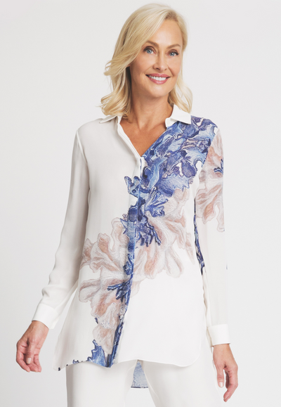 blue coral printed white silk tailored shirt blouse