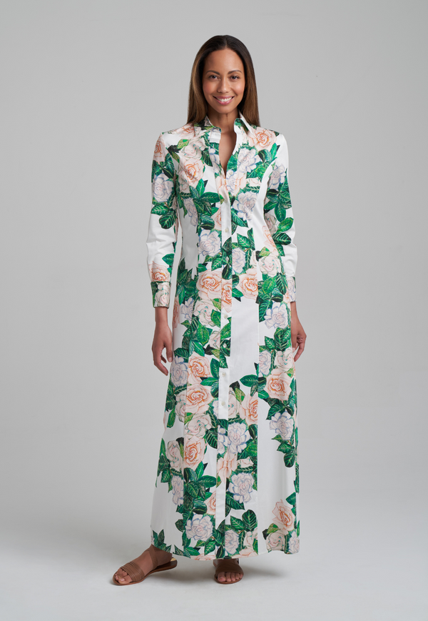 Gardenia flower printed long cotton shirt dress