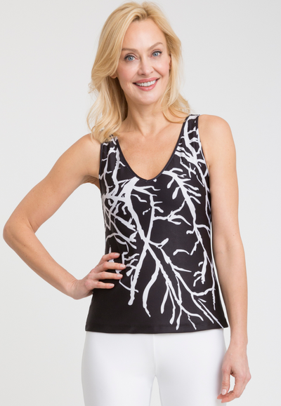 black and white coral printed stretch knit tank top