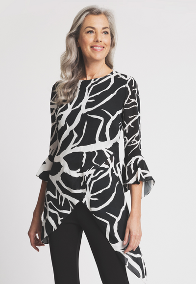 black and white coral printed silk asymmetrical blouse