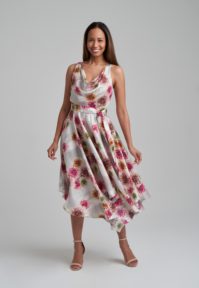 woman wearing silk dahlia flower printed dress