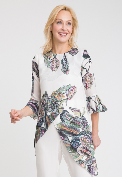 tropical leaves printed asymmetrical silk blouse with ruffled sleeves