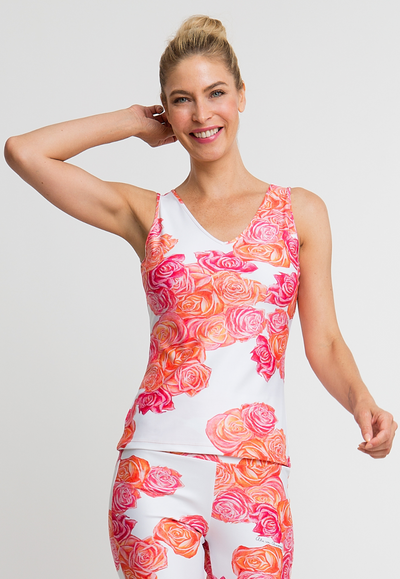 pink and orange flower printed stretch knit tank top