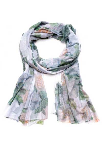 gardenia flower printed mesh long scarf wrap