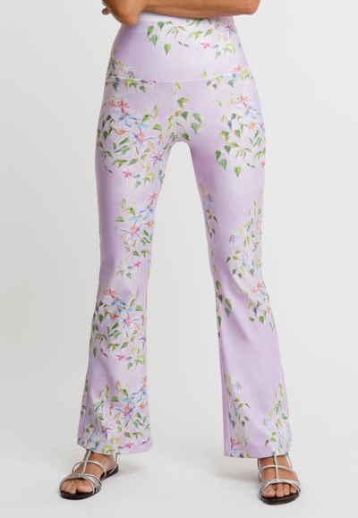 lavender flower printed stretch knit pants
