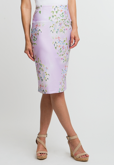 lavender flower printed stretch knit tube skirt