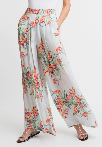orange and blue flower printed silk pleated trousers pants