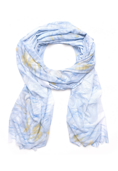 yellow and blue feather printed mesh gala wrap shawl scarf