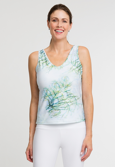green cactus printed stretch knit tank top