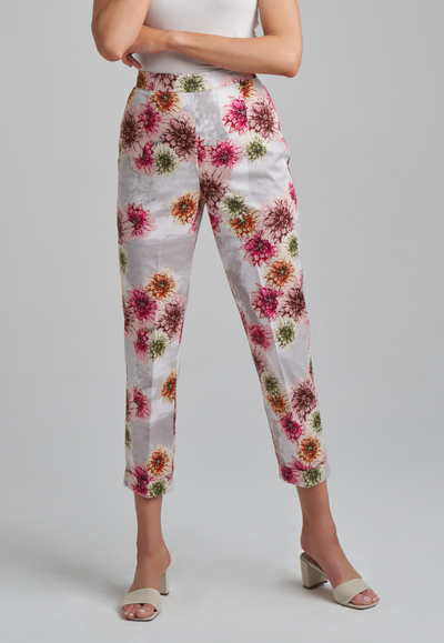 Cotton sateen dahlia flower printed pants