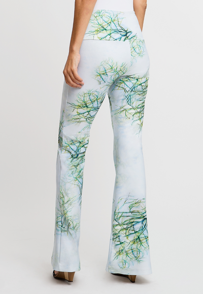 green cactus printed stretch knit pants
