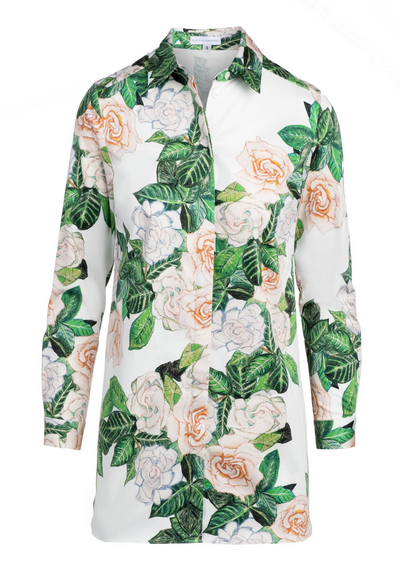 Cotton Gardenia flower printed tailored shirt