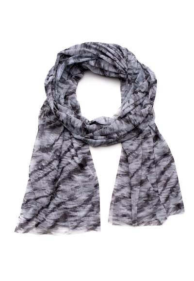 black and grey tiger striped mesh long scarf