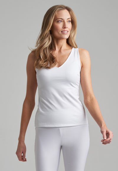 white stretch knit tank top