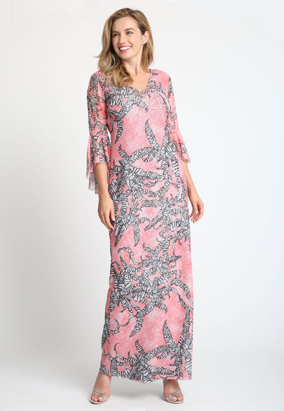 Mesh pink black and white long three quarter sleeve dress over black and white printed stretch knit dress