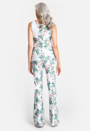 Agnes Tank Top in Gardenia with matching pants back view