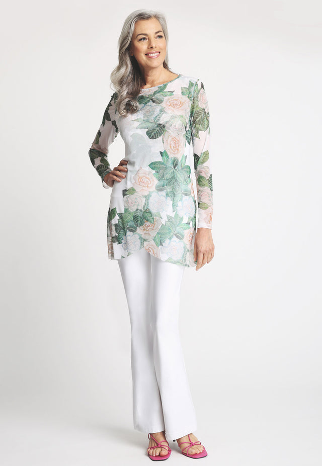 Model in gardenia printed long sleeve top and white pant