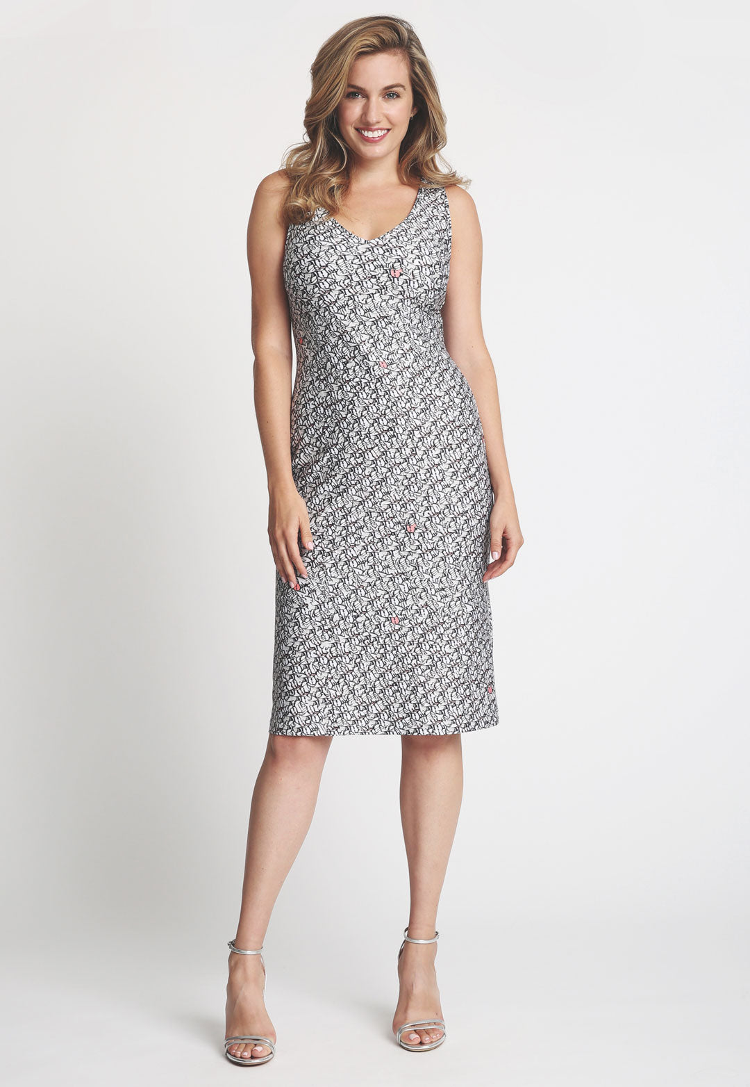 Lavinia Short Dress in Calathea front view