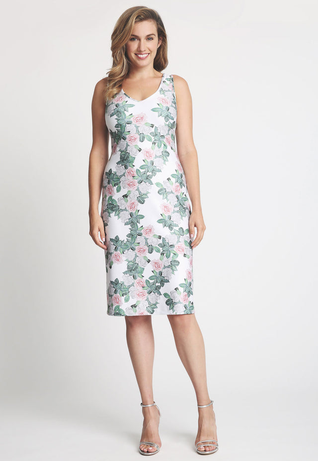 Model in short gardenia printed sleeveless dress