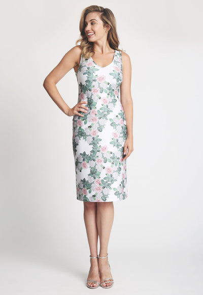 short stretch knit gardenia flower printed dress