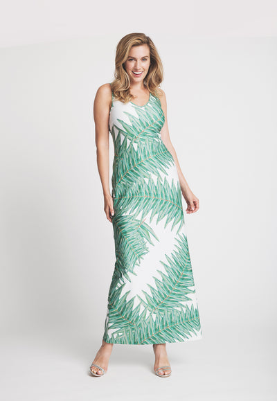 palm tree printed long stretch knit dress