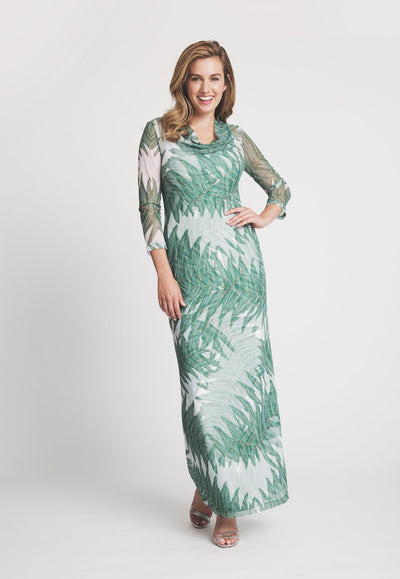 palm tree printed mesh cowl neck long dress layered over long palm tree printed stretch knit dress