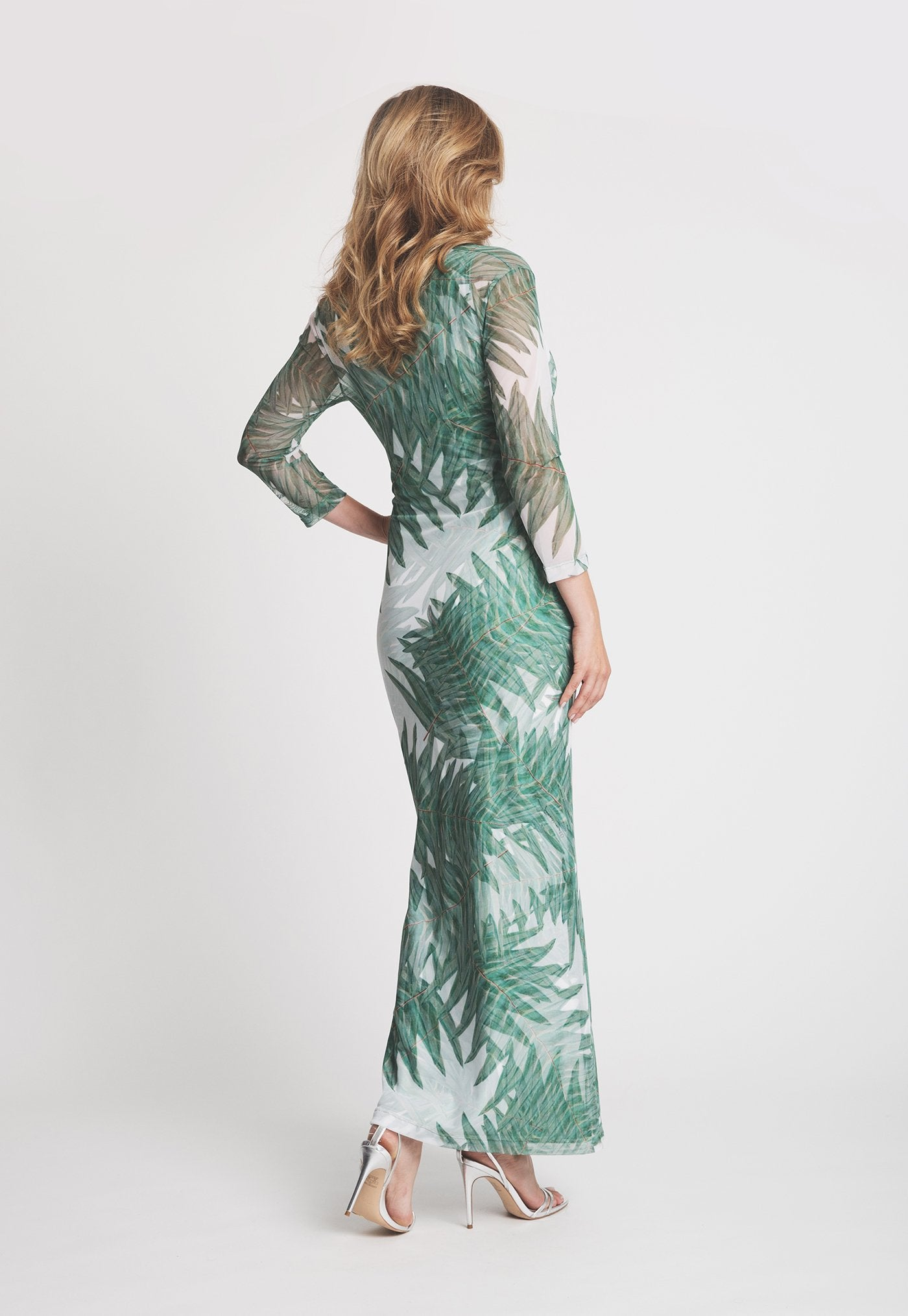Louise Dress in Queen Palm back view