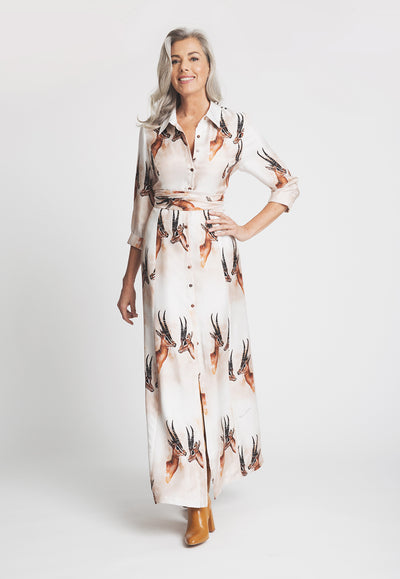 long shirt silk dress with wrap in deer print