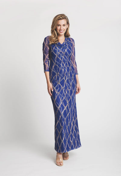 long blue rope printed mesh cowl neck dress layered over long blue rope printed stretch knit dress