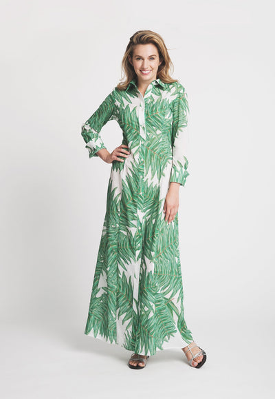 palm tree printed cotton long shirt dress