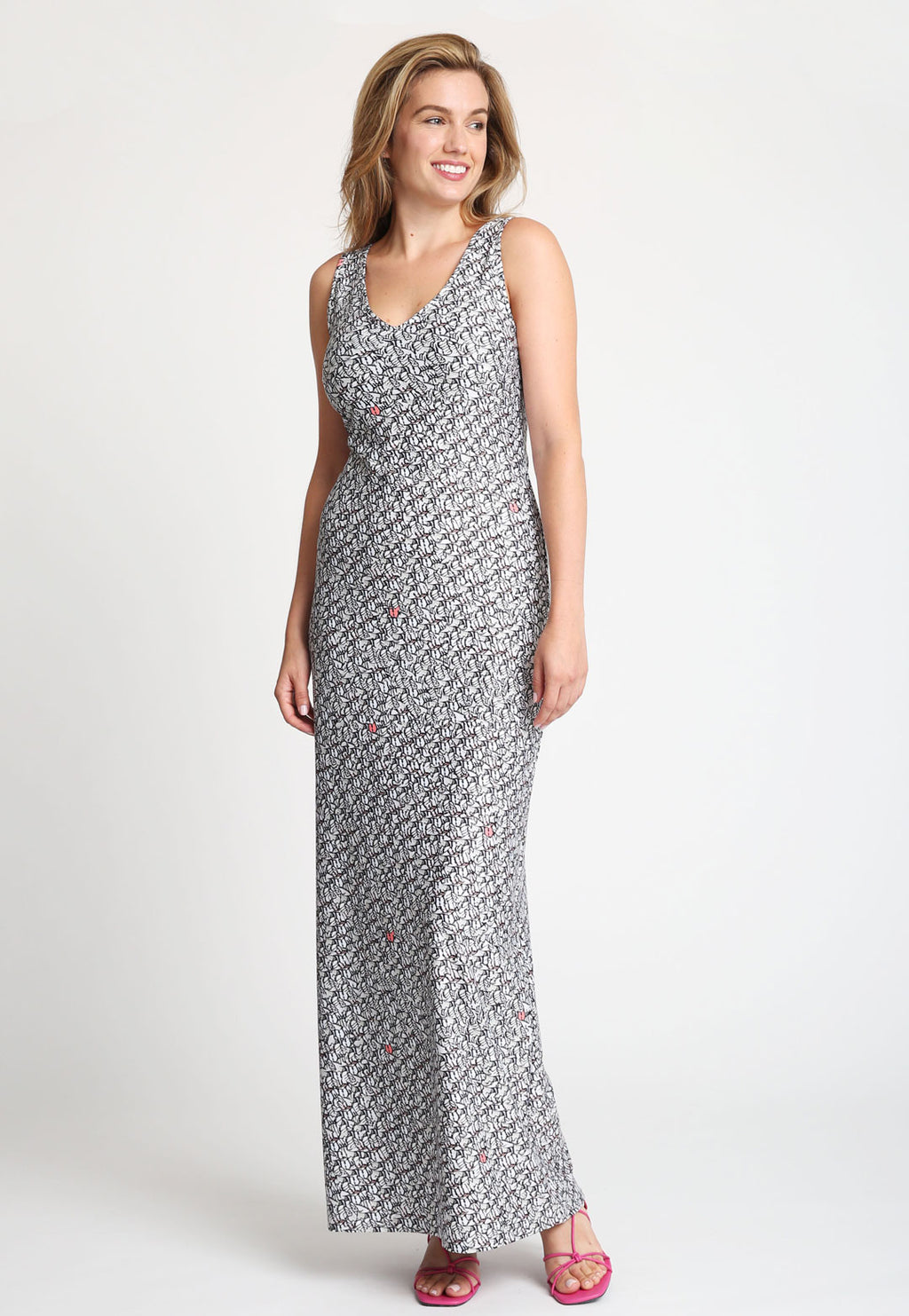 Lavinia Long Dress in Calathea front view