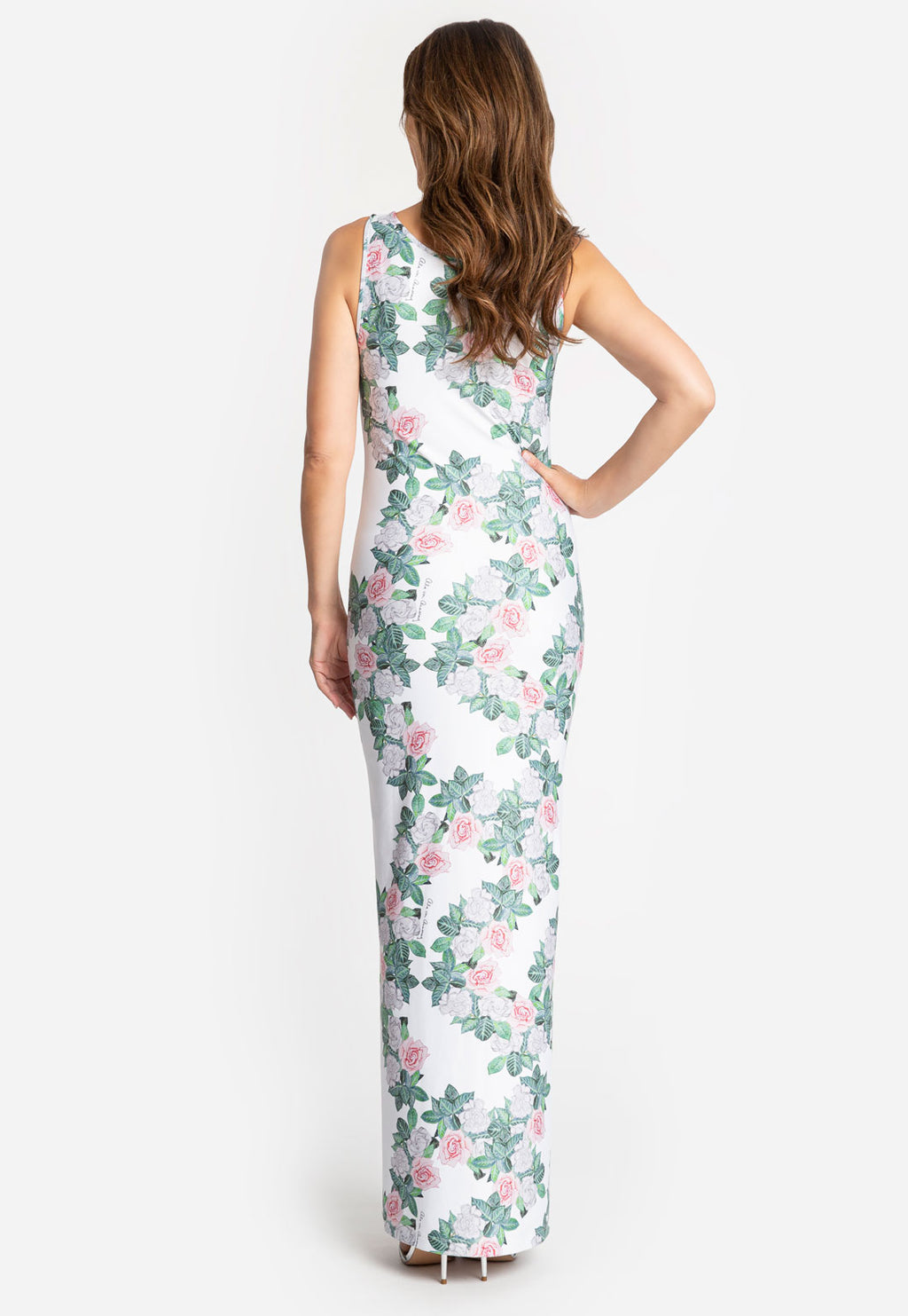 Lavinia Long Dress in Gardenia back view