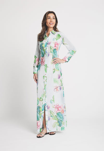 blue and green flower printed cotton long shirt dress